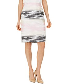 Ombré Jacquard Pencil Skirt