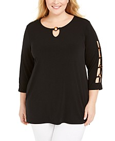 Plus Size Ring-Trim Ladder-Sleeve Top, Created for Macy's