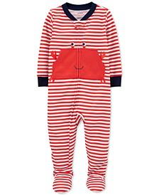 Baby Boys 1-Pc. Striped Crab Footed Pajamas