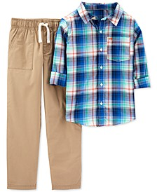 Little & Big Boys 2-Pc. Cotton Plaid Shirt & Khaki Pants Set