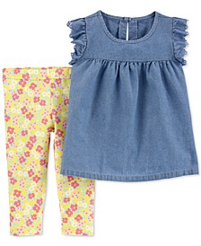 Toddler Girls 2-Pc. Chambray Top & Floral-Print Leggings Set