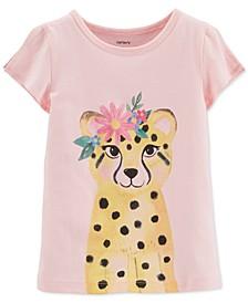Toddler Girls Cotton Leopard Split Shoulder T-Shirt