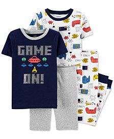 Little & Big Boys 4-Pc. Game On Cotton Pajamas Set