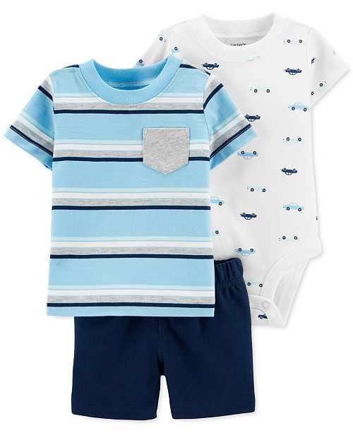 Carter's Baby Boys 3-Pc. Cotton Car T-Shirt, Bodysuit & Shorts Set
