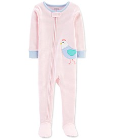 Baby Girls 1-Pc. Striped Chicken Cotton Footed Pajamas