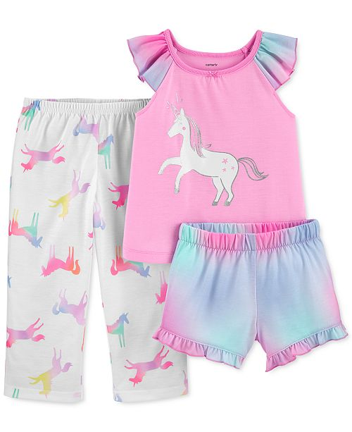 Carter's Toddler Girls 3-Pc. Unicorn Pajamas Set