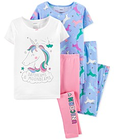 Little & Big Girls 4-Pc. Unicorn Cotton Pajamas Set