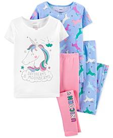 Little & Big Girls 4-Pc. Unicorn Cotton Pajamas Set