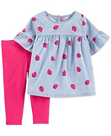 Baby Girls 2-Pc. Striped Strawberry Top & Leggings Set