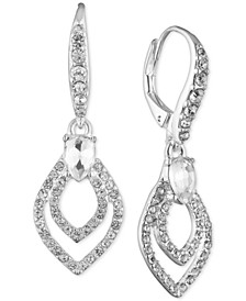 Silver-Tone Crystal Teardrop Drop Earrings