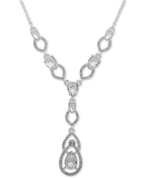 """Lauren Ralph Lauren Silver-Tone Crystal Teardrop Lariat Necklace, 16"""" + 3"""" extender"""