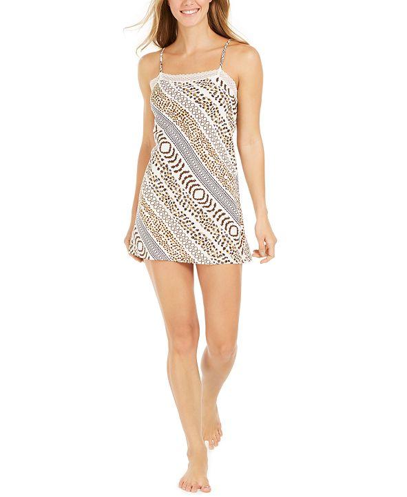 Josie Slinky Lace-Trim Printed Chemise Nightgown