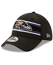 Baltimore Ravens Striped Front Tech 39THIRTY Stretch Fitted Cap