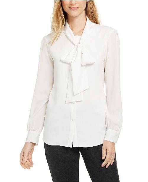 Calvin Klein Tie-Neck Button-Up Blouse