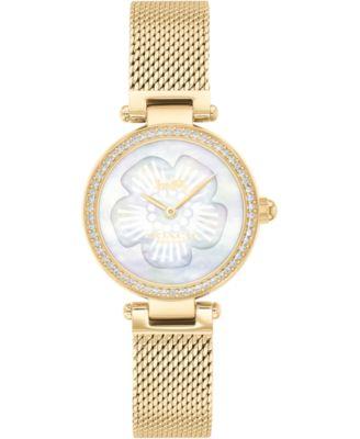 코치 여성 손목 시계 COACH Womens Park Gold-Tone Stainless Steel Mesh Bracelet Watch 26mm,Mother Of Pearl