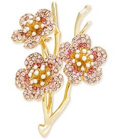 Gold-Tone Pavé & Imitation Pearl Cherry Blossom Pin, Created for Macy's