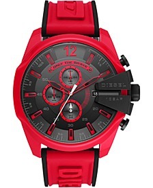 Men's Chronograph Mega Chief Red & Black Silicone Strap Watch 51mm