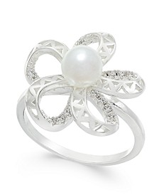 Silver-Tone Pavé & Imitation Pearl Flower Ring, Created for Macy's