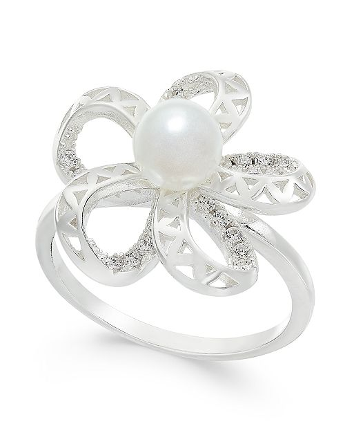 Charter Club Silver-Tone Pavé & Imitation Pearl Flower Ring, Created for Macy's
