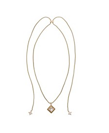 Gold Tone Adjustable Slider with Diamond Shape Pendant Necklace