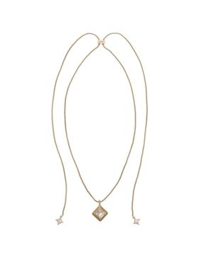 Gold Tone Adjustable Slider with Diamond Shape Pendant Necklace