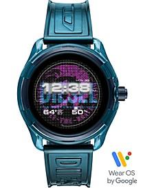 Men's Fadelite Blue Transparent Polyurethane Strap Touchscreen Smart Watch 44mm