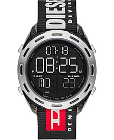 Men's Digital Crusher Black Nylon Strap Watch 46mm