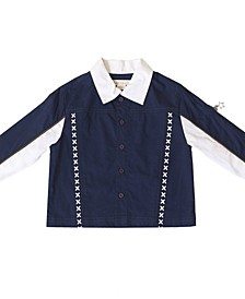 Toddler and Little Boys Color Blocked Button Up Shirt