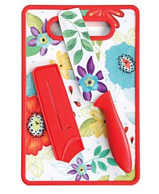 Jordana Chef Knife with Sheath and Cutting Board in Floral Pattern