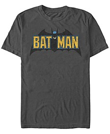 DC Men's Batman Classic Text Bat Logo Short Sleeve T-Shirt