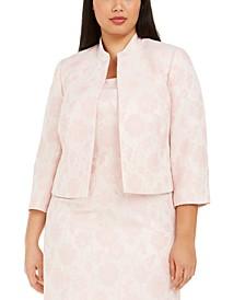 Plus Size Floral Jacquard Jacket