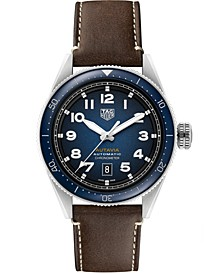 Autavia Men's Swiss Chronometer Automatic Brown Leather Strap Watch 42mm