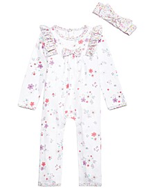 Baby Girls 2-Pc. Cotton Bunny Floral-Print Headband & Coverall Set, Created for Macy's