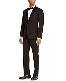 Men's Slim-Fit Techni-Cole Stretch Black Peak Lapel Tuxedo, Created for Macy's