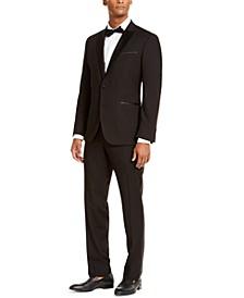 Men's Slim-Fit Techni-Cole Stretch Black Peak Lapel Tuxedo, Created For Macy's