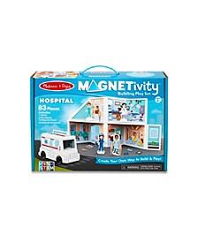 Melissa Doug 83-Piece MAGNETIVITY Magnetic Building Play Set – Hospital with Ambulance Vehicle 16 Panels, 62 Accessory Magnets