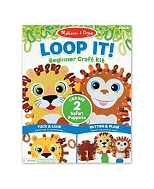 Melissa Doug Loop It Safari Puppets Beginner Craft Kit – Lion and Monkey Felt Hand Puppets, 40 Loops