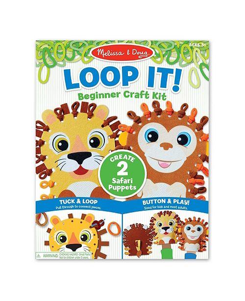 Melissa and Doug Melissa Doug Loop It Safari Puppets Beginner Craft Kit – Lion and Monkey Felt Hand Puppets, 40 Loops