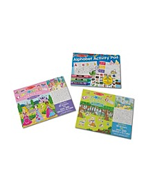 Melissa Doug Sticker and Coloring Activity Pad 3-Pack -Animals, Dress-Up, Letters