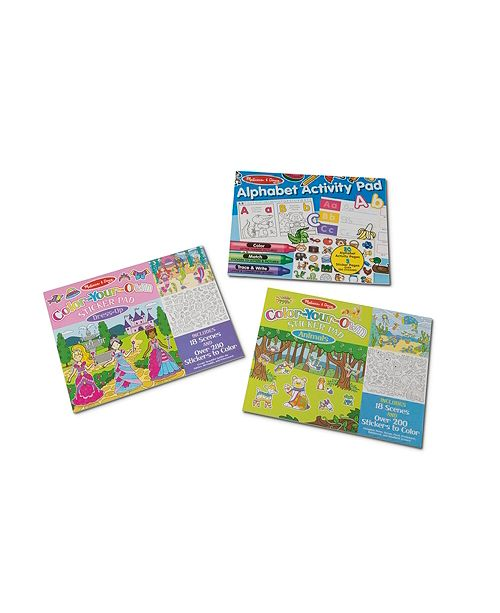 Melissa and Doug Melissa Doug Sticker and Coloring Activity Pad 3-Pack -Animals, Dress-Up, Letters