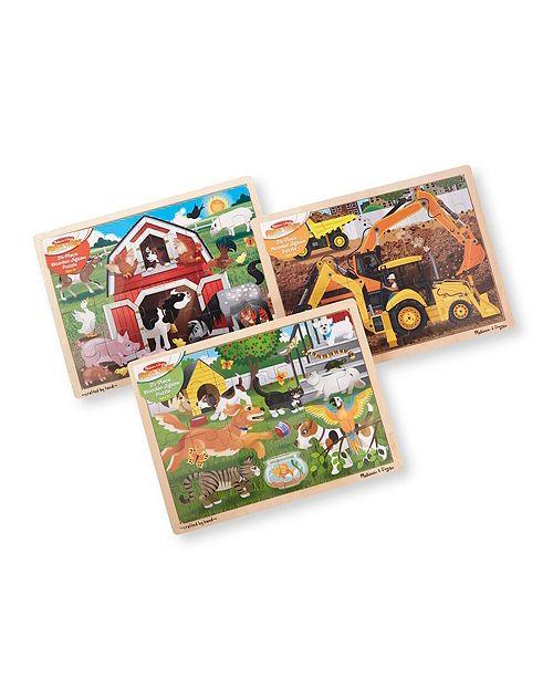 Melissa and Doug Melissa Doug Jigsaw Puzzle Bundle Farm, Construction and Pets