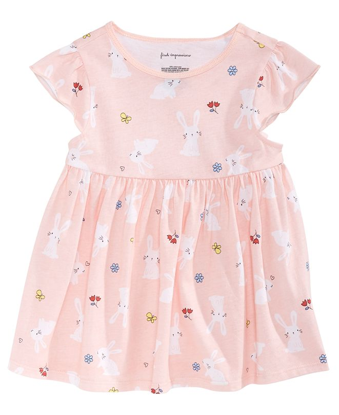 First Impressions Toddler Girls Bunny-Print Cotton Tunic, Created for Macy's
