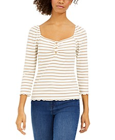 Juniors' Striped Lettuce-Trim Top