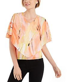 Petite Printed Overlay Top, Created for Macy's