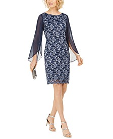 Plus Size Lace Split-Sleeve Sheath Dress
