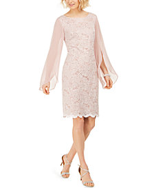 Connected Flutter-Sleeve Sequined Lace Dress