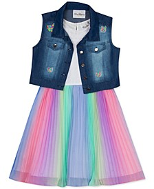 Toddler Girls 2-Pc. Denim Vest & Multicolored Dress Set