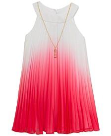 Big Girls Pleated Ombré Necklace Dress