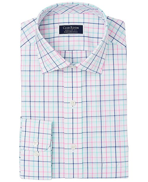 Club Room Men's Classic/Regular-Fit Performance Stretch Tattersall Check Dress Shirt, Created for Macy's