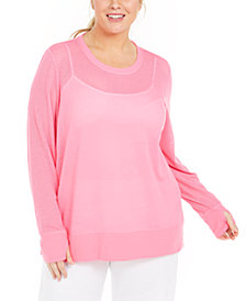 Ideology Plus Size Mesh Top, Created for Macy's